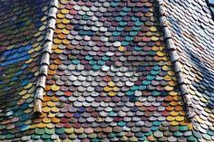 Tiled colorful roof in Sighisoara Transylvania Romania Stock Photo