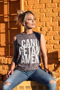 can i get an amen bleached muscle tank – The Light Blonde T-shirt Tee tank soft graphic design faith Christian look outfit ensemble women's fashion style trend Bleach Shirts, Vinyl Shirts, Funny Tee Shirts, Tourist Outfit, Blonde Photography, She Is Clothed, Light Blonde, Easy Wear, Distressed Jeans
