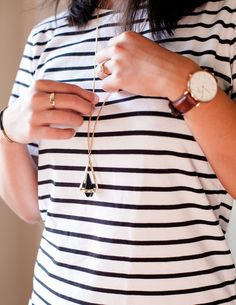 Accessorize your favorite striped dress with a necklace