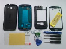 Free Shipping  Blue Replacement Cell Phone Full Housing Cover Case + Screen Glass Tools Film For Samsung S3 Galaxy  I9300