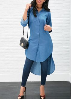 Asymmetric Hem Long Sleeve Denim Dress | Rosewe.com - USD $23.23