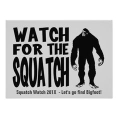Watch for the Squatch! Funny Bigfoot  Party Sasquatch Hunting Invitation by Netspeak at Zazzle! #sasquatch #bigfoot #party