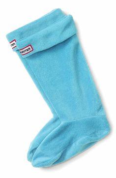 hunter fleece welly socks in powder blue