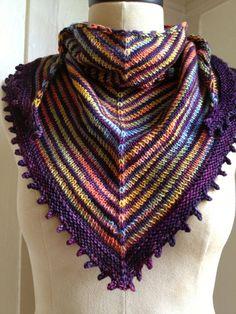Sunset Stripes Knitted Shawl / wrap / scarf by KissKissKiddo, $75.00