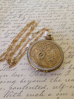 Antique Powder Compact Necklace with Swarovski Pearls