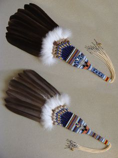 Pow Wow style fan by mickchet on DeviantArt – feather crafts Native American Church, Native American Regalia, Native American Crafts, Native American Beadwork, Indian Beadwork, Native Beadwork, Feather Painting, Feather Art, Boho Gypsy