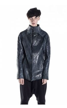 139DEC high collared leather jacket