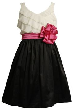 Amazon.com: Bonnie Jean Girls 7-16 Chiffon Bodice To Satin Skirt Dress: Clothing