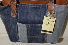 New Patricia Nash Patchwork Nevoso Double Denim Jeans Tote Bag Purse Blue