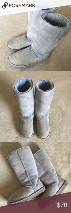 Tall classic UGG boots Light blue, has some discoloration but in good condition. Size 7W. Make an offer UGG Shoes Winter & Rain Boots