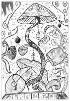 Отображение изображений красящие-страница-взрослые-гриб-Valentin