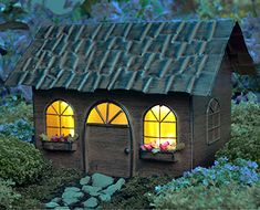 The Miniature Solar Fairy House can be used indoors or outdoors. It makes a lovely accent for your garden, patio, porch, inside, or as a table decorative centerpiece.