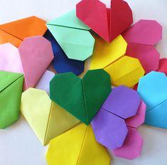 Origamihjerte – Hva skal vi lage  fremgangsmåte, trinn for trinn  diy origami heart Origami, Origami Paper, Origami Art