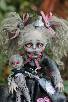 OOAK gothic fairy tale monster tin girl posable art doll A.Gibbons goth DMA