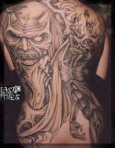 Death tattoo design made by Paul Booth Evil Tattoos, Tattoos Skull, Black Ink Tattoos, Badass Tattoos, Body Art Tattoos, Horror Tattoos, Calf Tattoos, Skull Tattoo Design, Tattoo Design Drawings