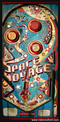"""pinballforever:  """"Space Voyage"""" A pinball machine made from completely recycled materials. Acrylic on mixed media by artist Rob Croxford"""