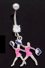 Two Cheerleaders Dangle Belly Button Navel Ring