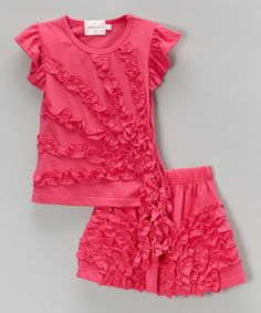 Another great find on #zulily! Hot Pink Ruffle Top & Skirt - Infant, Toddler & Girls #zulilyfinds