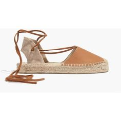 MADEWELL Soludos® Platform Gladiator Sandals in Leather featuring polyvore, women's fashion, shoes, sandals, tan, platform espadrilles, tan platform sandals, tan sandals, low heel sandals and platform shoes