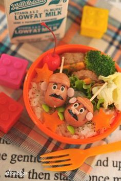 Potato Head character bento lunch exciting