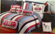 Authentic Kids Ryan Fire Truck Boys Quilt Set|Boys Fire Truck Bedding