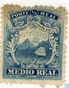 1863  Costa Rica [CRI] - Coat of Arms and landscape