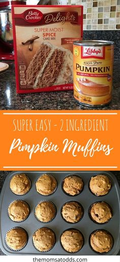 Easy & Delicious Pumpkin Muffins Crack Chicken and Dumplings is a twist to the c. , Easy & Delicious Pumpkin Muffins Crack Chicken and Dumplings is a twist to the classic version! Still a hearty comfort food, this recipe will surely b. 2 Ingredient Pumpkin Muffins, Pumpkin Muffin Recipes, Pumpkin Spice Cake Muffins, Mini Muffins, Can Of Pumpkin Recipes, Healthy Pumpkin Muffins, Two Ingredient Cakes, Spice Cake Mix And Pumpkin, Cake Mix Muffins