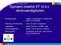 signalen zwakke executieve functies m.b.t. denkvaardigheden