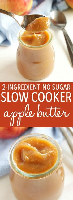 This Healthy 2 Ingredient Slow Cooker Apple Butter is an easy fall recipe made with only apples and cinnamon, and no sugar! Perfect as a dip or spread! via paleo breakfast slow cooker Slow Cooker Apples, Slow Cooker Recipes, Cooking Recipes, Crockpot Meals, Slow Cooking, Apple Recipes, Fall Recipes, Apple Recipe Healthy, Recipes Dinner
