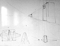 #skiss för deltagarna #teckning om #perspektiv i system med en-, två- och tre punkters... även horisontlinjen. Kul att fönstren speglas på #whiteboard och passar in i ämnet :-)