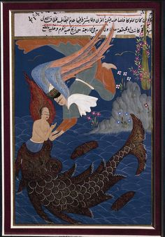 An ottoman miniature portraying the whale ejecting the prophet Jonah, from Turkey at the end of the 16th century.
