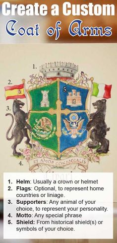 Start with images of some of your favorite things, and make a completely custom coat of arms just for your family.  We can work from an an existing image, symbols of important things in your life, meaningful colors, flowers, animals, and places. Create your own or have one created for you.