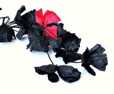 first anniversary paper jewellery, anniversary gift, gothic paper flower necklace, summer fashion, black and red