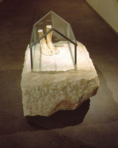 Louise Bourgeois  J'Y SUIS, J'Y RESTE, 1990  Pink marble, glass & metal  35 x 40 1/2 x 31 inches  88.9 x 102.9 x 78.7 centimeters