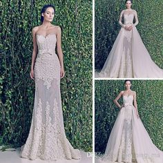 Glamours Three Pieces Wedding Dresses Sheer Crew Neck A-Line Wedding Dresses | Buy Wholesale On Line Direct from China
