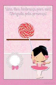 """lembrancinha pirulito Kit de Personalizados Tema """"Bailarina Rosa"""" para Imprimir - Convites Digitais Simples"""