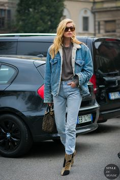 Elsa Hosk by STYLEDUMONDE Street Style Fashion Photography  Milan Fashion Week Fall 2017