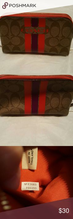 Coach Varsity Stripe Makeup Bag Authentic Coach Makeup bag has small inside pocket with zipper closure and measures 8.5x4.5x2.5. NWT Coach Bags Cosmetic Bags & Cases