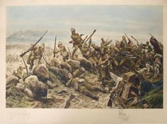 """""""My Brave Irish"""" By R. Depicts the storming of the Boer positions on Pieter Hill at the battle of Val Krantz and Pieters by Major General Barton's Fusilier Brigade on February The only Irish, Royal Dublin Fusiliers. Military Art, Military History, Zulu, Describing Words, Major General, Historical Artifacts, British Colonial, British Army, Types Of Art"""