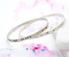 Personalised Silver & Gold Riveted Bangle | Unique Gift for Her | Sterling Silver Lyrics Bangle | Contemporary Silver Mantra Bangle by Soremi on Etsy