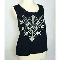 COZY CROSS BACK SLEEVELESS TOP Brand new without tags tribal print with rhinestones sleeveless top. Tops