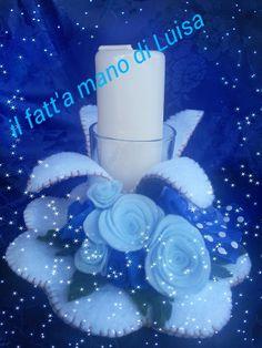 nei toni del blu e bianvo#romantica candela centro tavola in feltro# https://www.facebook.com/Il-fatta-mano-di-Luisa-327849927338957/le maddine#creativemamy#spillo e mirtillo#handmade