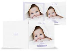 Geburtskarte Baby in weiß, Foto, Spruch
