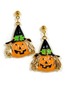 Golden Jack-O-Witch Halloween Earrings