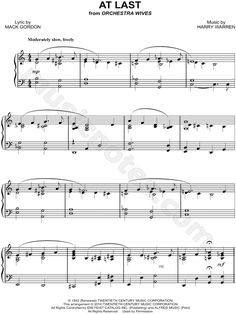 Print and download At Last sheet music by Etta James arranged for Piano. Instrumental Solo in C Major.