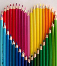 Colorful pencils heart