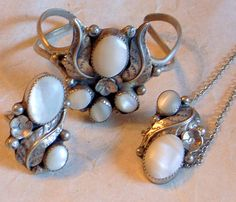 Navajo MOP Set- Bracelet, Ring, Necklace-Handmade Silver - Signed EJ - White Mother-of-Pearl - Beautiful Workmanship. $350.00, via Etsy.