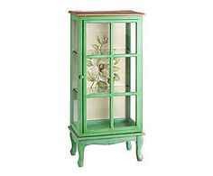 Crafted from wood with a vibrant green finish, this display case features a floral design – perfect for your country cottage or French vintage look. Vintage Looks, French Vintage, Display Case, China Cabinet, Floral Design, Storage, Wood, Classic, Interior