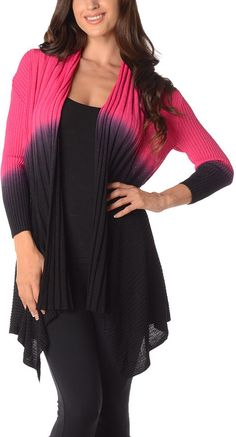 Magenta & Black Color Block Open Cardigan - Plus