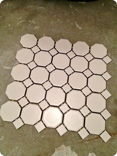 white hexagon tile bigger size with warm gray grout